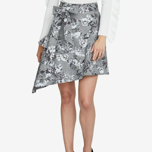 RACHEL Rachel Roy Printed Asymmetrical Skirt,Blue//White//Beige size 6